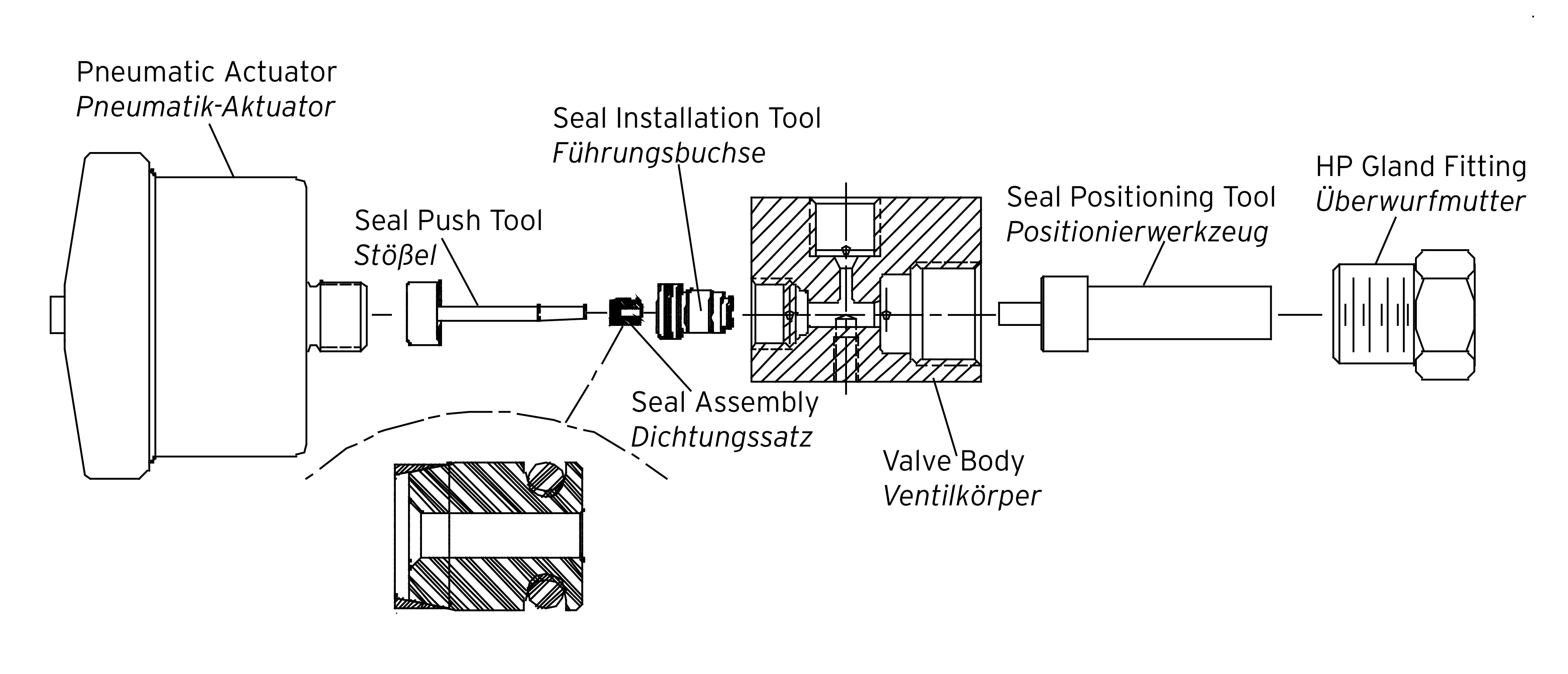 Drawing installation high pressure seal assembly